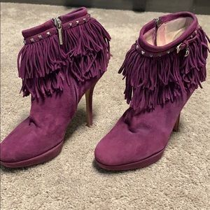 Christian Dior suede fringe ankle booties
